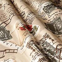 """Ткань  """"Винтаж"""" с текстом и цветами для штор и обивки мебели"""