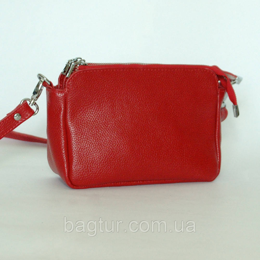 Женская кожаная сумочка 29 красный флотар 01290107