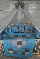 Бортики,захист в ліжечко+постільна білизна+балдахін+одіялко із лоскутків 1246