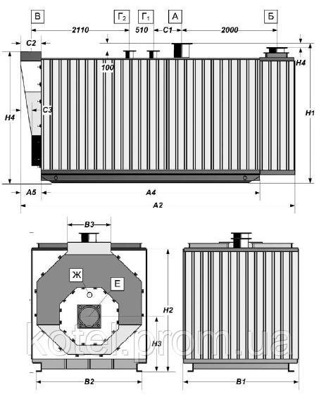 Размеры газового жаротрубного котла Колви 6000
