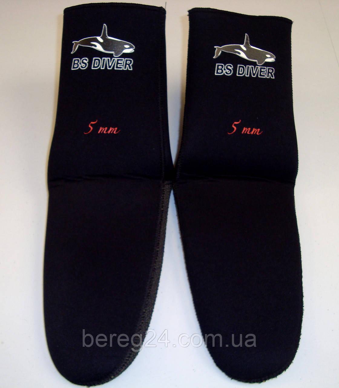 Носки для дайвинга и подводной охоты под боты BS Diver Professional Kevlar Черные 5 мм, размер М, кевлар