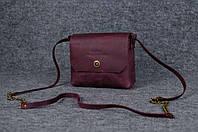 Женская кожаная сумка Итальянка через плечо | Винтажный Бордо, фото 1