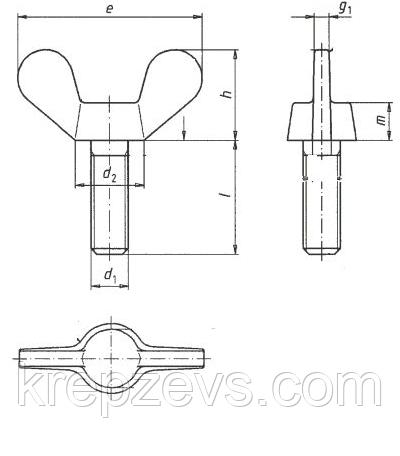 Барашковый винтМ16 DIN 316