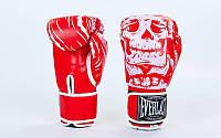 Перчатки боксерские FLEX на липучке Everlast  SKULL  (р-р 8-12oz, красный), фото 1