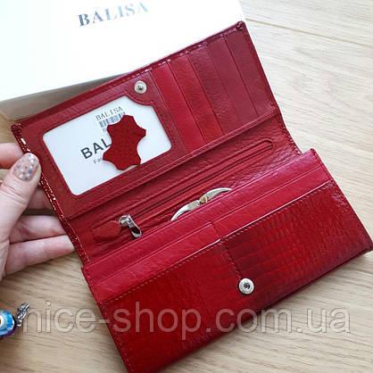 Кошелек женский кожаный лаковый на кнопке,красный, фото 2