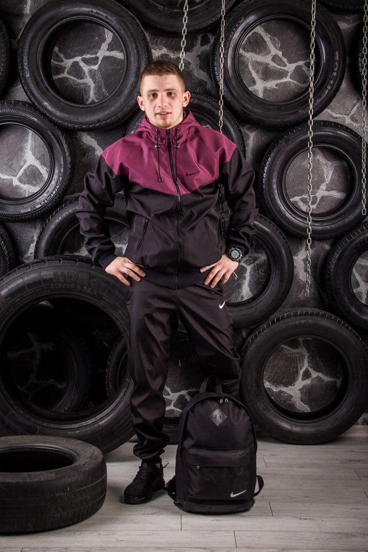 Windrunner Nike (Ветровка, виндраннер Найк), бордово-черный
