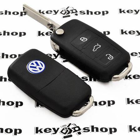 Выкидной автоключ Volkswagen (Фольксваген) - 3 кнопки с микросхемой 1J0959753AG, с частотой 433 MHz, фото 2