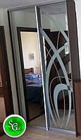 Шафа-купе на замовлення з дверима з піскоструйним малюнком