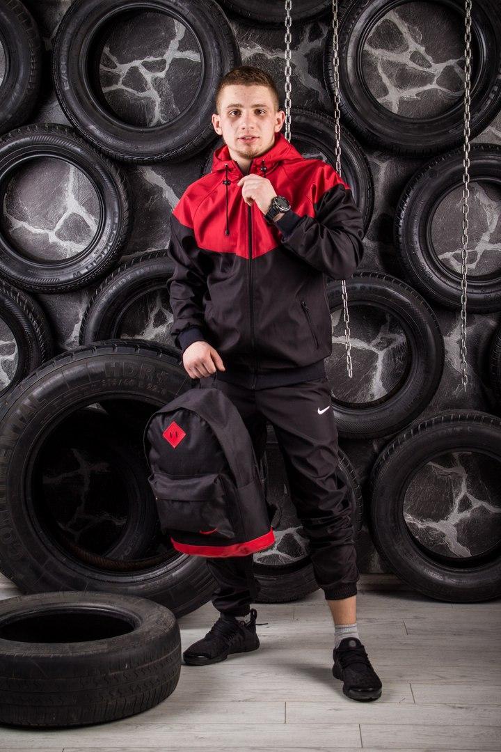 Windrunner Nike (Ветровка, виндраннер Найк), красно-черный