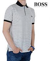 Футболка мужская поло летняя Boss-103 с черными полосками