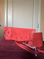 Женская сумочка- клатч брендовый коралловый Rinascimento
