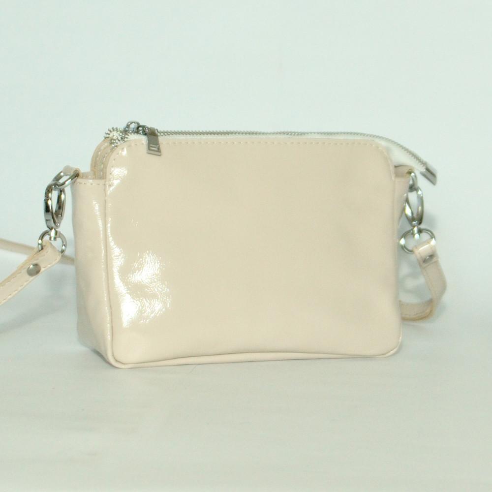 Женская кожаная сумочка кросс-боди29 бежевый наплак 01290308