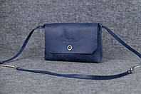 Женская кожаная сумка Итальянка XL | Синий Винтаж , фото 1