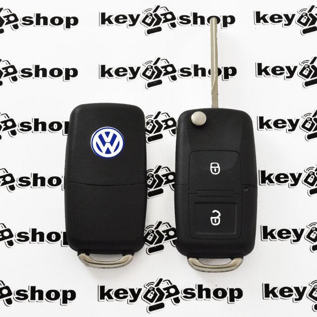 Выкидной автоключ Фольксваген (Volkswagen) 2 кнопки микросхемой 1JO 959 753 N - 434 Mhz, с ID48 MEGAMOS чипом