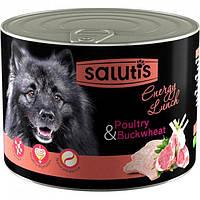 Salutis Energy -консерва для собак 525гр*12шт с ягненком,птицей,гречкой