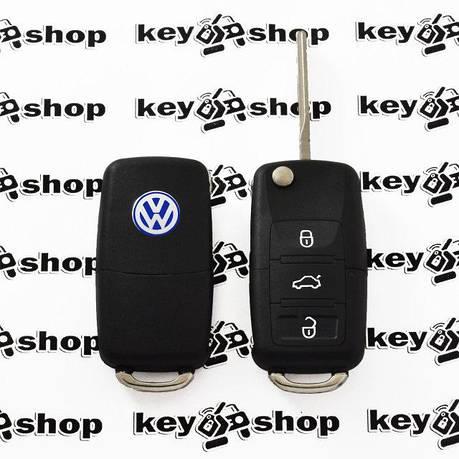 Выкидной автоключ Фольксваген (Volkswagen) 3 кнопки микросхемой 1JO 959 753 AH - 434 Mhz, с ID48 MEGAMOS чипом, фото 2