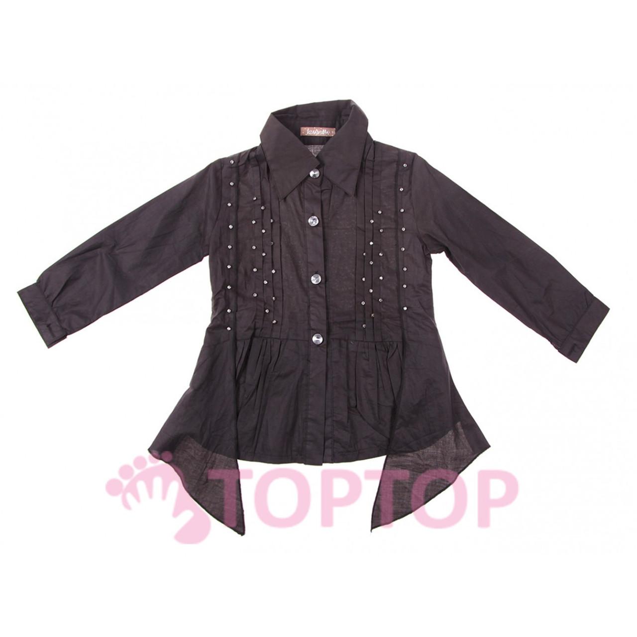 Рубашка для девочек черная (5-13 лет)