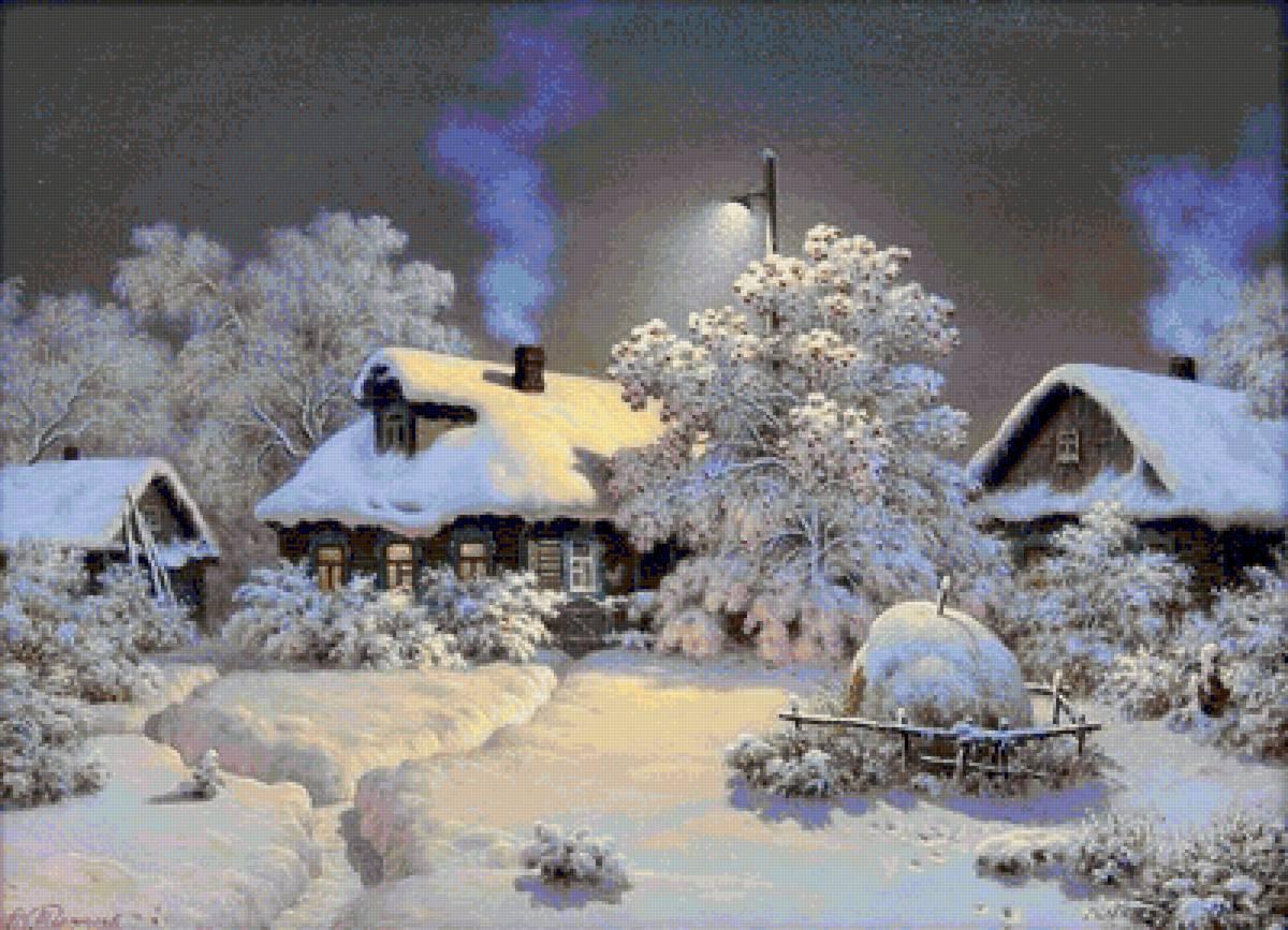 Зимний пейзаж в вышивке 37