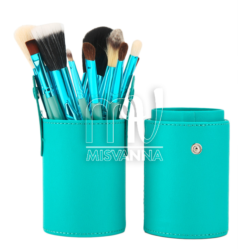 Набор кистей для макияжа Mac, 12 шт. в  футляре бирюза