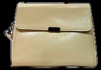 Строгая женская сумочка из натуральной кожи бежевого цвета GSM-009841, фото 1
