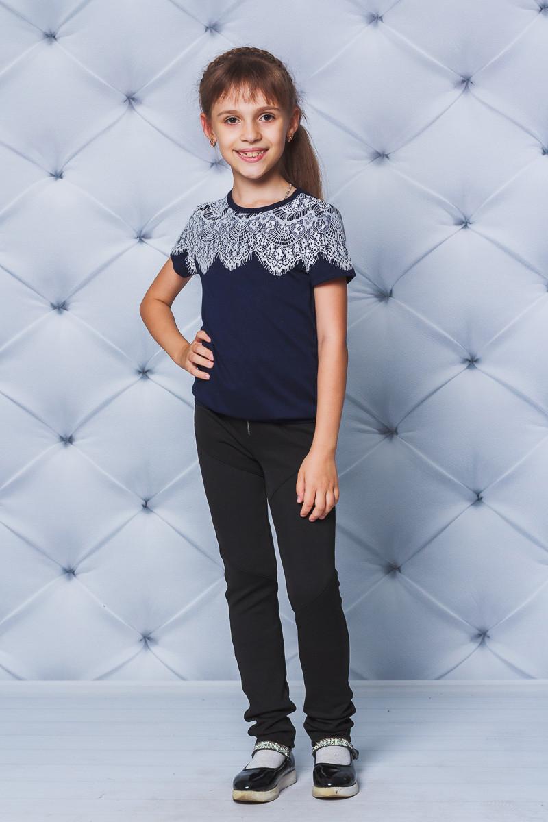 Блуза для девочки с коротким рукавом т-синяя