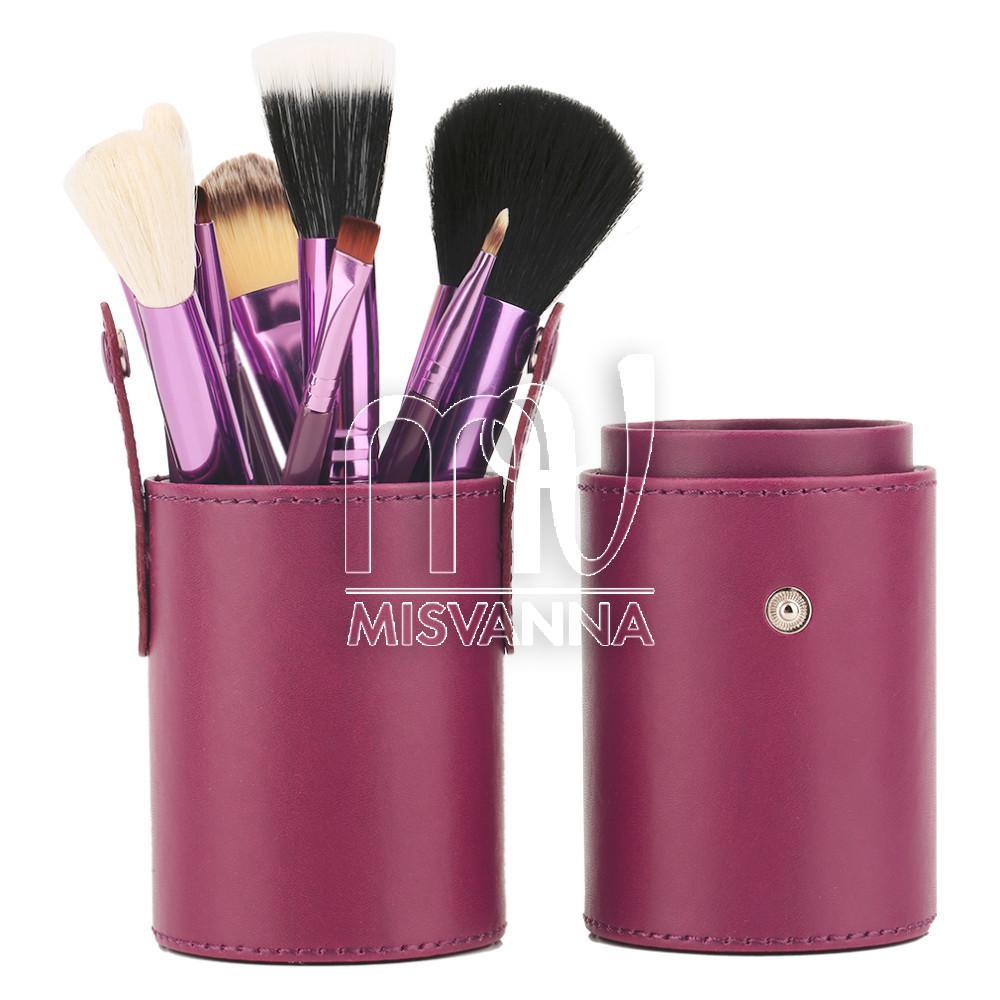 Набор кистей для макияжа Mac, 12 шт. в  футляре вишневый