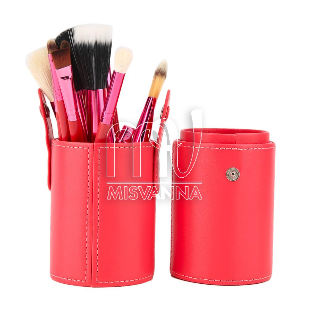 Набор кистей для макияжа Mac, 12 шт. в  футляре коралл