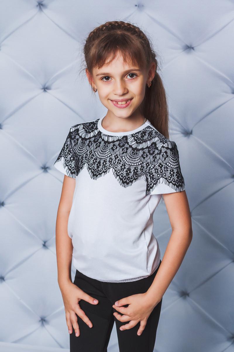 Блуза для девочки с коротким рукавом белая