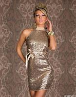 Вечернее красивое платье в паетки с поясом