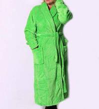 Махровый длинный халат на запах салатовый БП