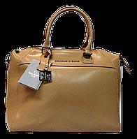 Удобная женская сумочка из кожи бежевого цвета LUU-017640