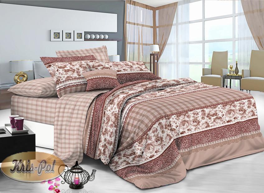 Двуспальный комплект постельного белья евро 200*220 хлопок  (6946) TM KRISPOL Украина
