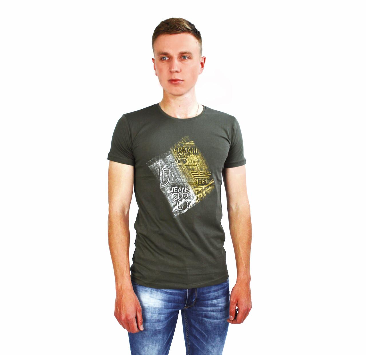 22fe151ee574 Мужская футболка с логотипом ARMANI - JEANS цвета хаки на лето: продажа,  цена в ...