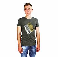 Мужская футболка с логотипом ARMANI - JEANS цвета хаки на лето