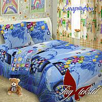 Полуторный комплект детского постельного белья поплин Смартфон TM TAG