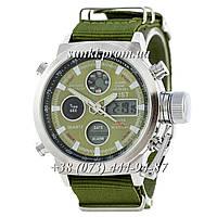 Мужские водонепроницаемые оригинальные кварцевые часы AMST Silver-Green Green Wristband