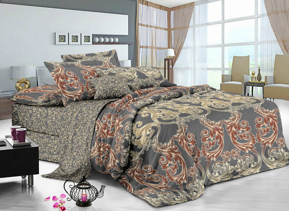 Двуспальный комплект постельного белья 180*220 сатин (7232) TM KRISPOL Украина, фото 2
