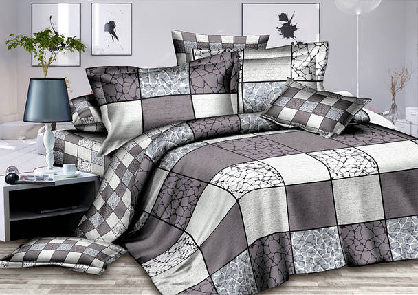 Двуспальный комплект постельного белья 180*220 сатин (7301) TM KRISPOL Украина, фото 2