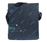 Мужская сумка синего цвета через плечо эко-нубук (54269)