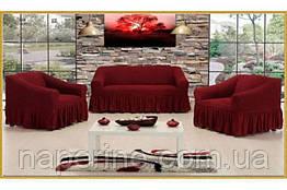 VIP sota Чехол натяжной на диван + 2 кресла Premium бордовый