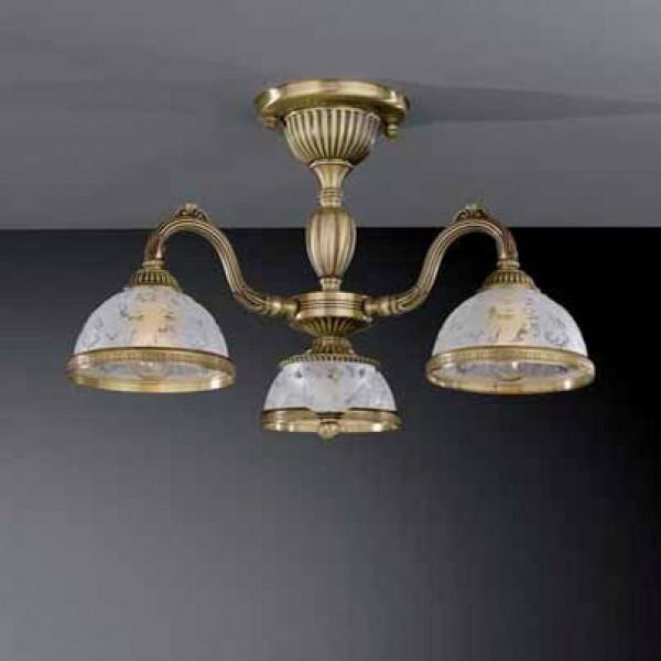 Потолочный светильник RECCAGNI ANGELO PL 6222/3 бронза/стекло