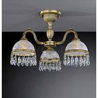 Потолочный светильник RECCAGNI ANGELO PL 6220/3 бронза/стекло/хрусталь