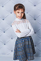 Водолазка с гипюром для девочки белая