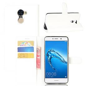 Чехол книжка для Huawei Enjoy 7 Plus / Huawei Y7 Prime боковой с отсеком для визиток, белый