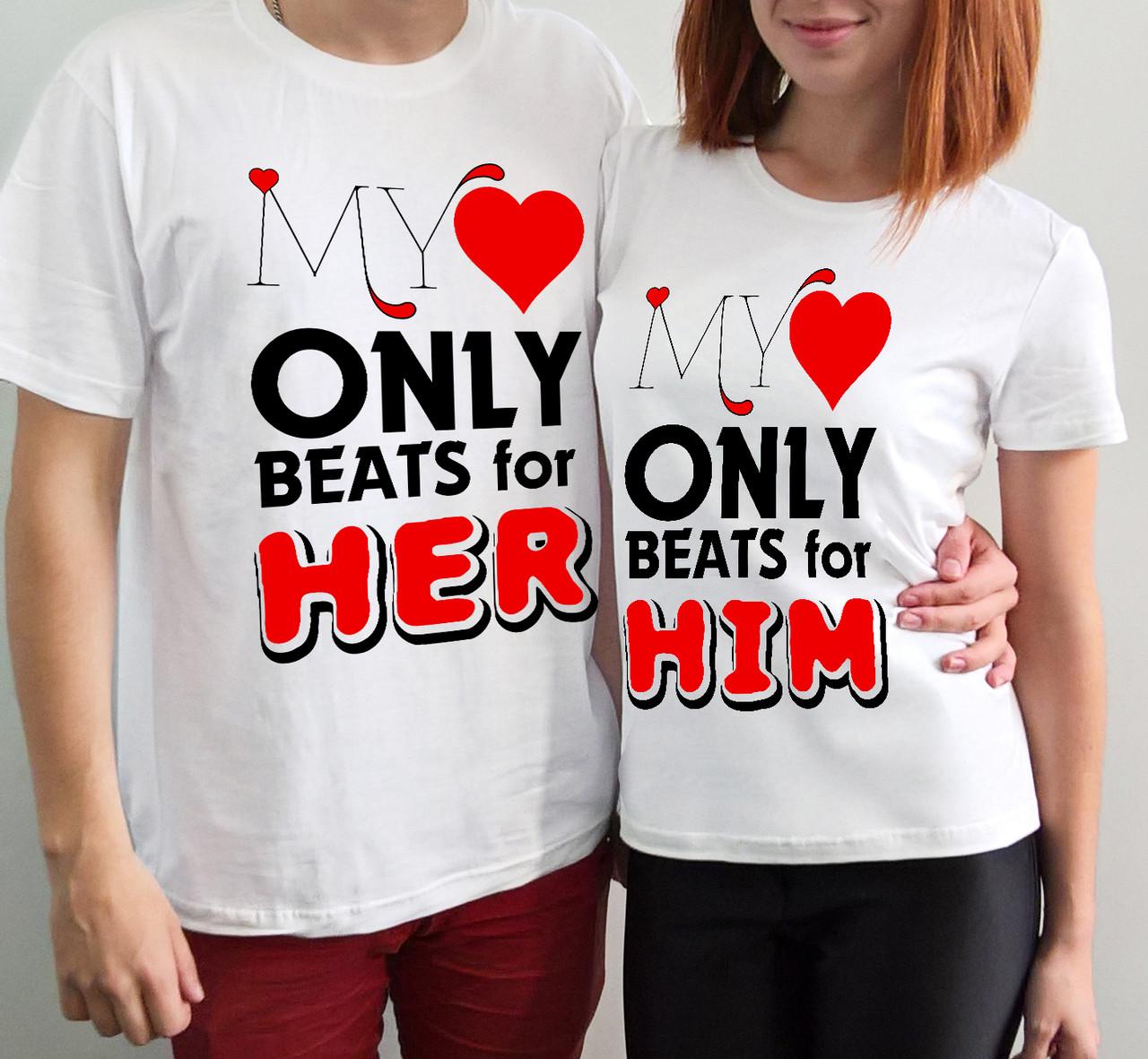 """Парные футболки """"Моё сердце бьется для нее - для него"""""""