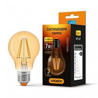 LED лампа  VIDEX Filament A60FA 7W E27 2200K 220V