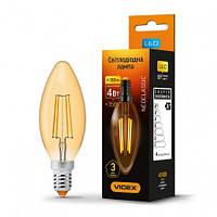 LED лампа  VIDEX Filament C37FA 4W E14 2200K 220V