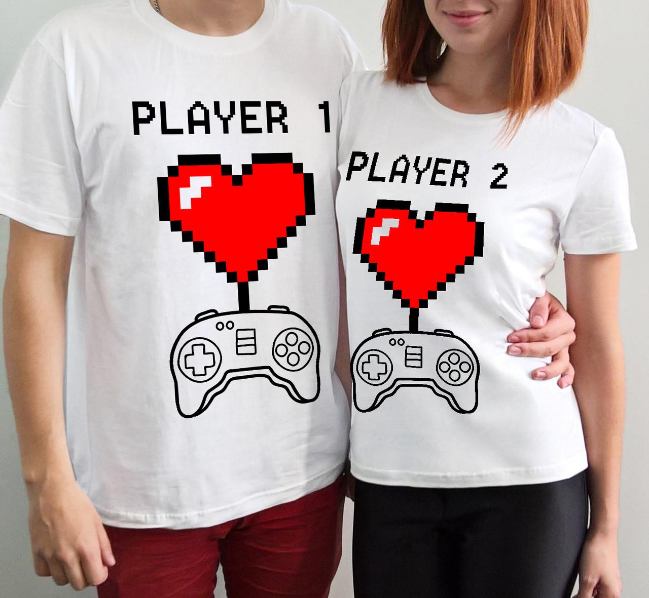 """Парные футболки """"Игрок 1, игрок 2"""""""