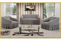 АКЦИЯ!!!Чехол-покрывало на диван + 2 кресла Premium, серый
