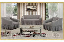 VIP sota Чехол натяжной на диван + 2 кресла Premium серый